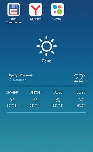 Отображение погоды