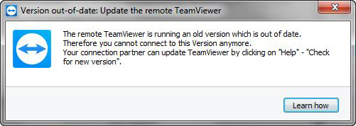 Version out-of-date Update the remote Teamviewer